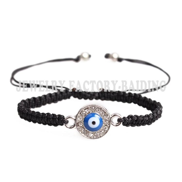 Черный красный черный шнурок круг кристально-синий дурной глаз подвески ручной работы браслет