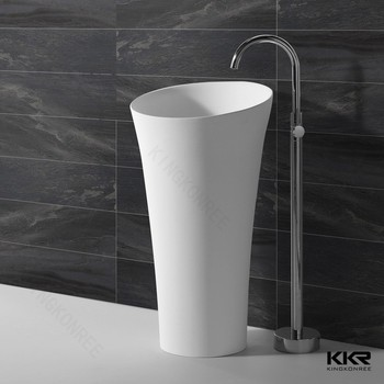 Design Cylindrical Floor Standing Bathroom Pedestal Stone Wash Hand Basin With Stand