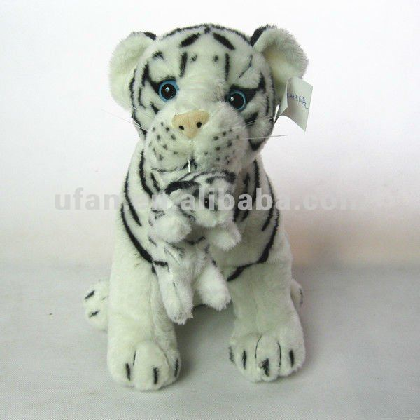 Hot new Cute plush white tiger with baby tiger toy animal stuffed toys