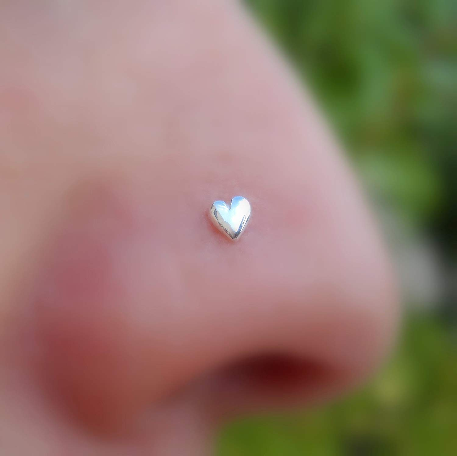 Nose Ring - Nose Stud - Cartilage Tragus Earring - Sterling Silver - Solid Heart - 20G to 16G Post