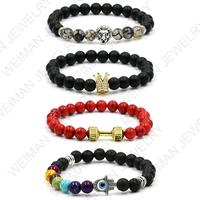 8mm Custom Natural black matte crown beads bracelets,handmade lion head,Hamsa hands bracelets