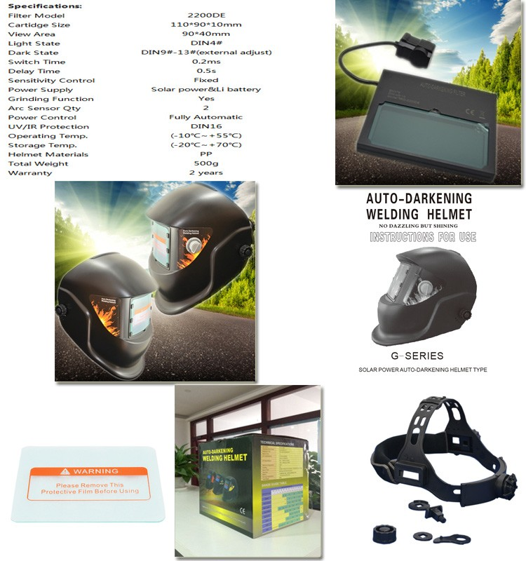 Decals Famous Economic Price Solar Powered Protection Custom Leather Welding Mask