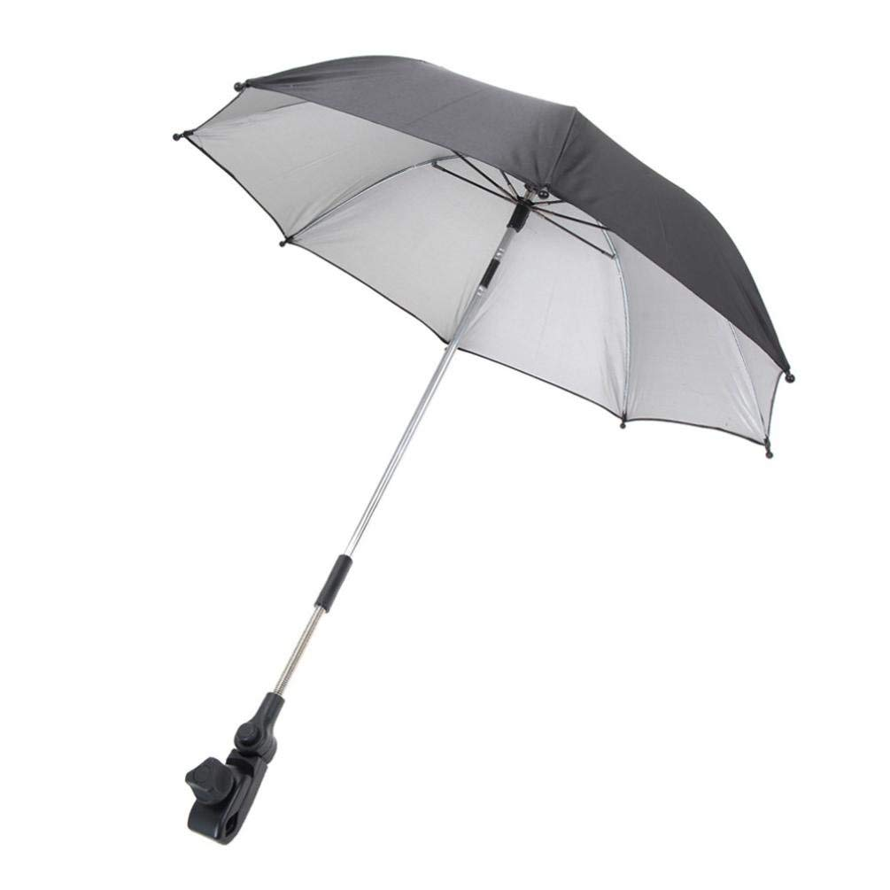 Rain Mate Compact Travel Baby Carriage Umbrella,Yeefant Transparent Clear Umbrella Stroller Mount Holder Sun Shadow Shade Baby Cart Umbrella,Windproof,Reinforced Canopy,Ergonomic Handle,Black
