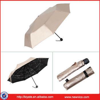Folding brolly umbrella with silver-coated outside