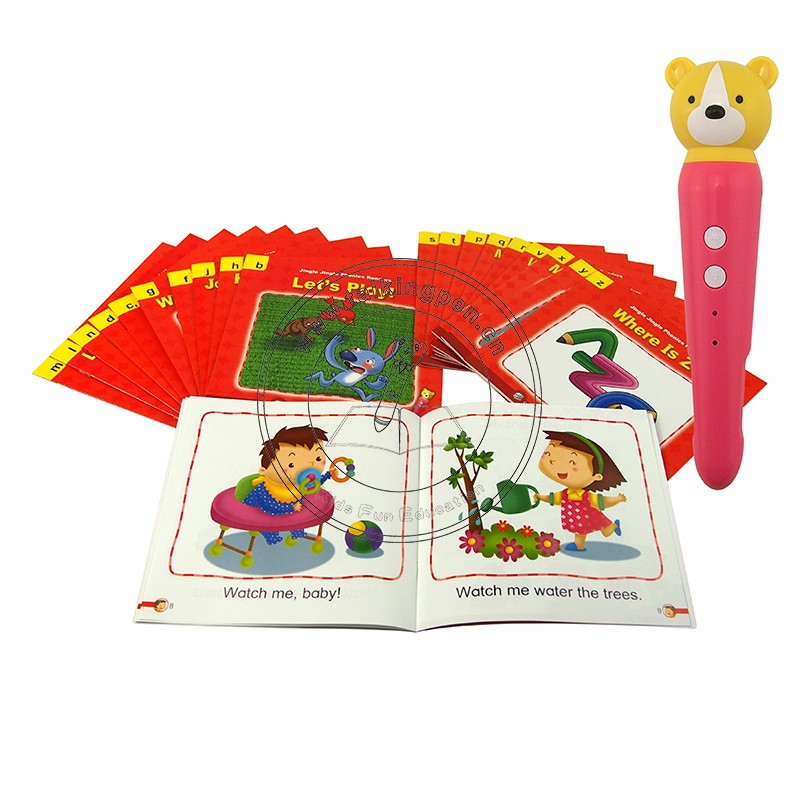 Talking Pen, OID Reader Pen, Electric Talking Pen e English Audio Book Jingle Jingle Phonics Lettori per bambini 50 Libri EB07
