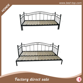 Pull Out Metal Double Sofa Bed Folding Futon With Wood Slats