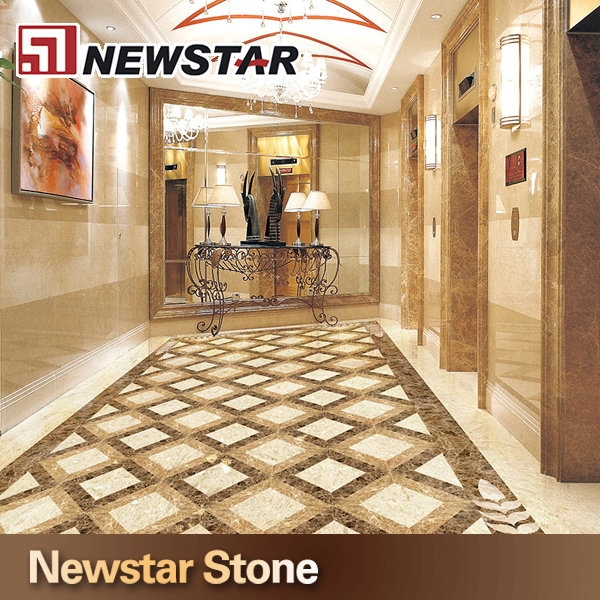 Stone Turning Marble Floor Lobby : 米国ホテルプロジェクトベージュロビー大理石フローリングデザイン 大理石 製品id