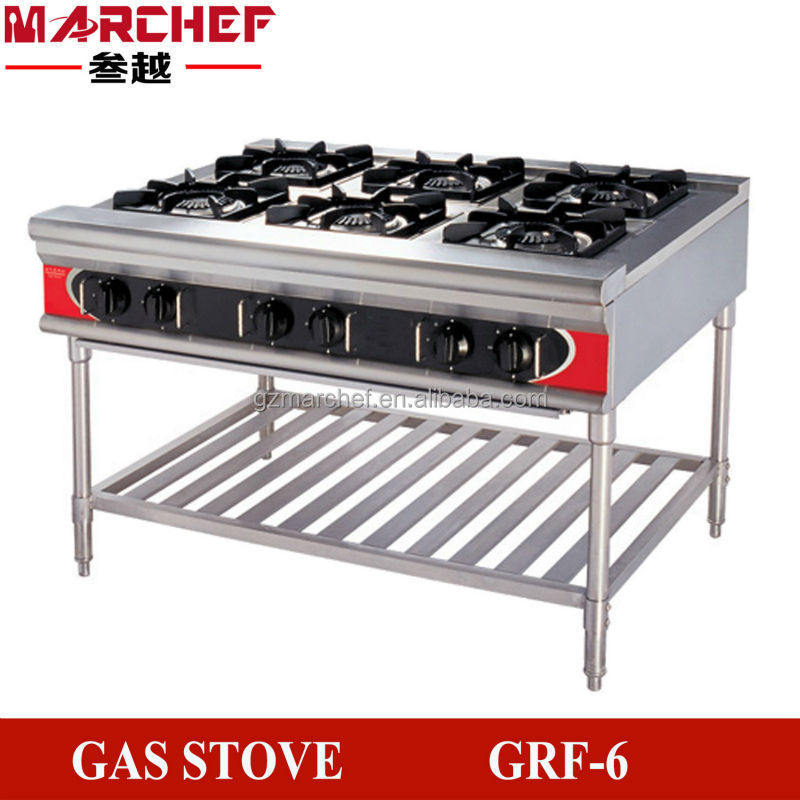 6 Burners Free Standing Type Commercial Kitchen Gas Burner Stove Equipment Cooking Machine Cooker Double