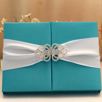 Christian Wedding Invitation Crystal Embellishments Silk Box