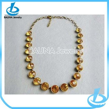 Latest style gold choker crystal bead yellow topaz necklace