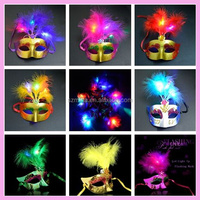 2016 Hot Sale Halloween party flash feather half face LED party mask