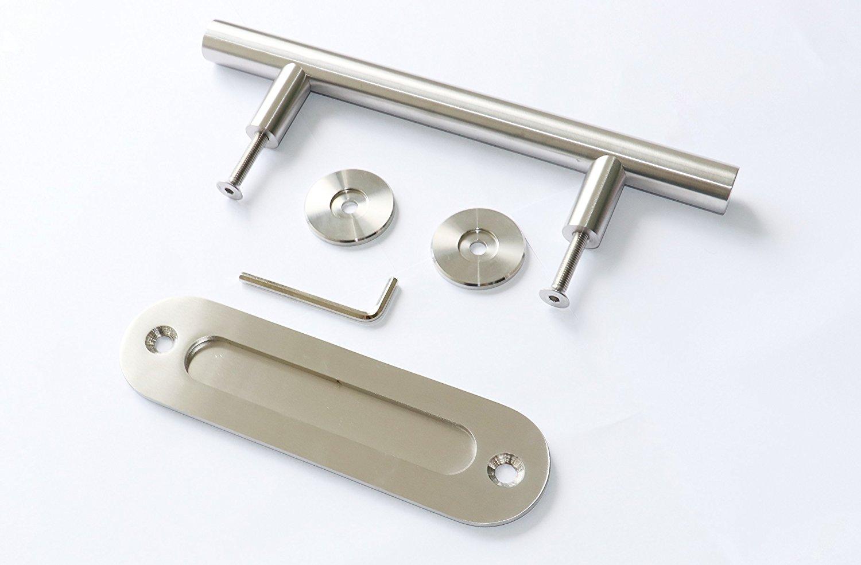 Flush Barn Door Handle Pull Hardware Kit for Interior Sliding Barn Doors - Brushed Satin Stainless Steel Handle Pull Grab for Door Panels 35-45mm in Width - Easy to Install Barn Door Handle Pull