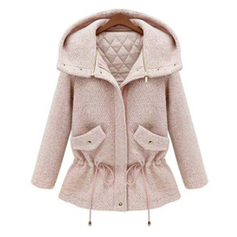 8d3dca030a4 Get Quotations · Coats Winter Women Coat Hoodied Quilted Cotton-padded  Clothes Elastic Overcoat Outwear Pink   Light