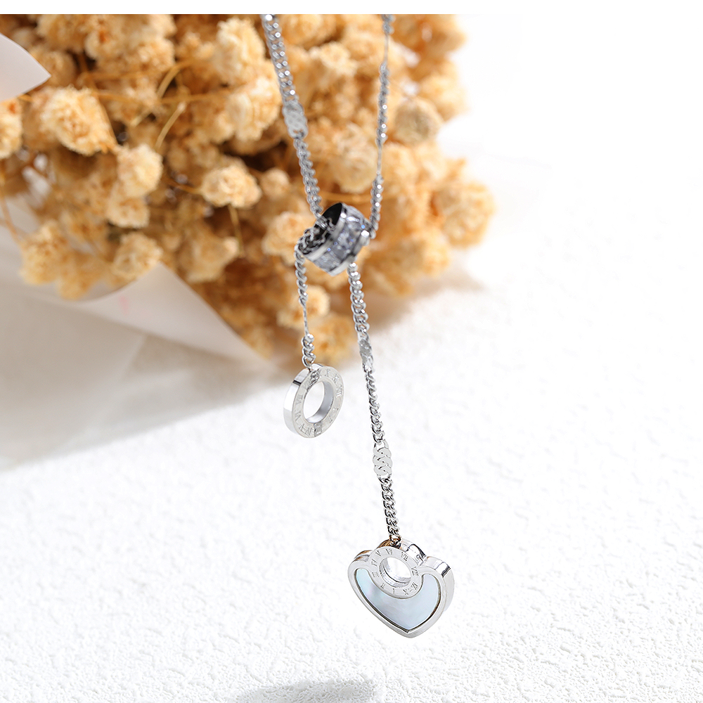 Modern Stylish Women Pearl Design Stainless Steel Charm Heart Pendant