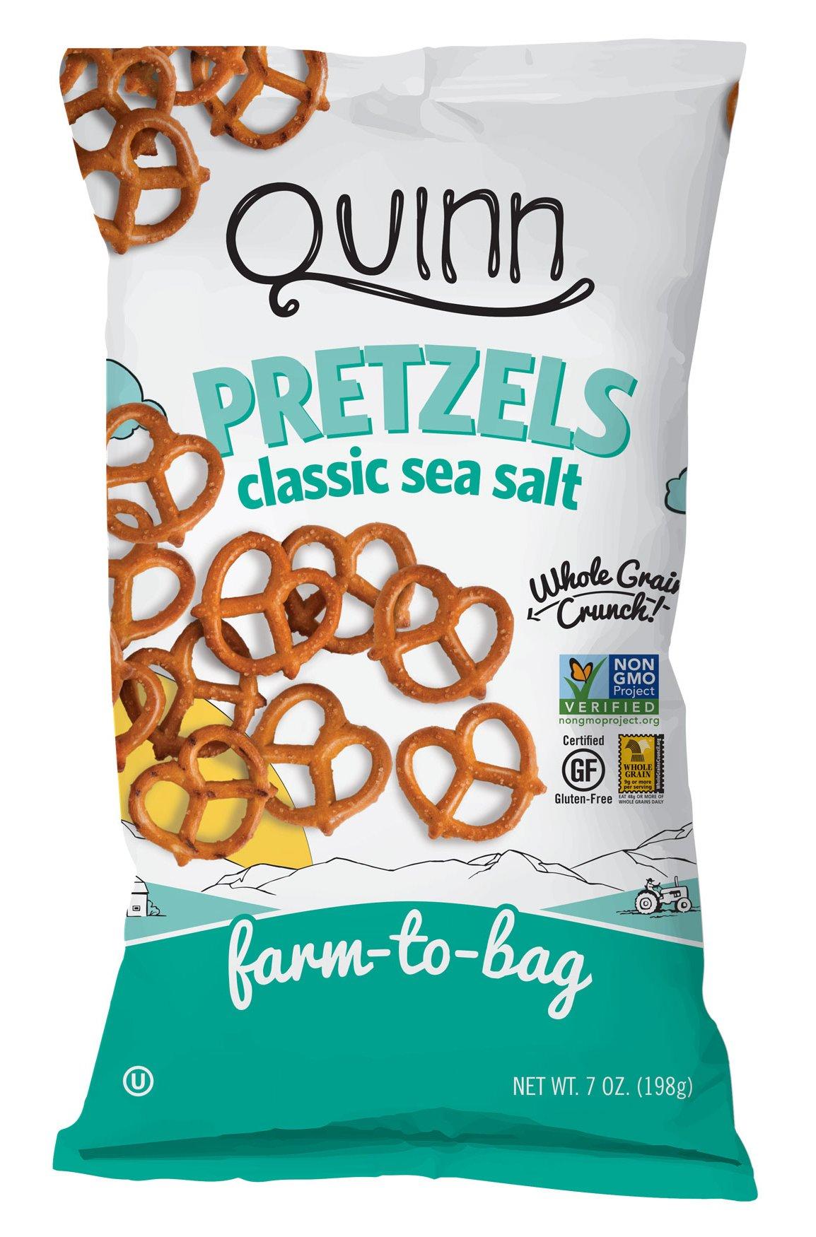 Quinn Snacks Non-GMO and Gluten Free Pretzels, Classic Sea Salt Twists, 3 Count