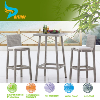 Partner New Style Cheap Outdoor Wicker /High Top Patio Furniture Rattan Bar  Table Set/