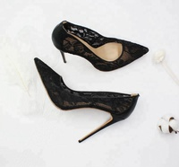 Wholesale Pumps Sexy Lady Stiletto Fashion Black Hollow Out Fancy Lace High Heel Shoes For Women