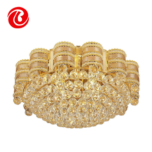 hot sale gold modern round iron gold luxury k9 crystal ball chandelier lamp
