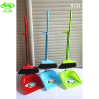 Colourful Household Cleaning Floor Iron Pole PET Bristles Plastic Broom