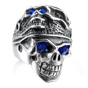 57c92aa148b Cool Men s Gothic Carving Ring Stainless Steel Blue Eyes Skull Men Ring for  Sale