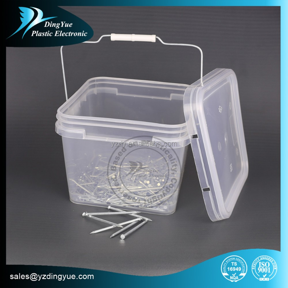 8L square plastic paint bucket with metal handle