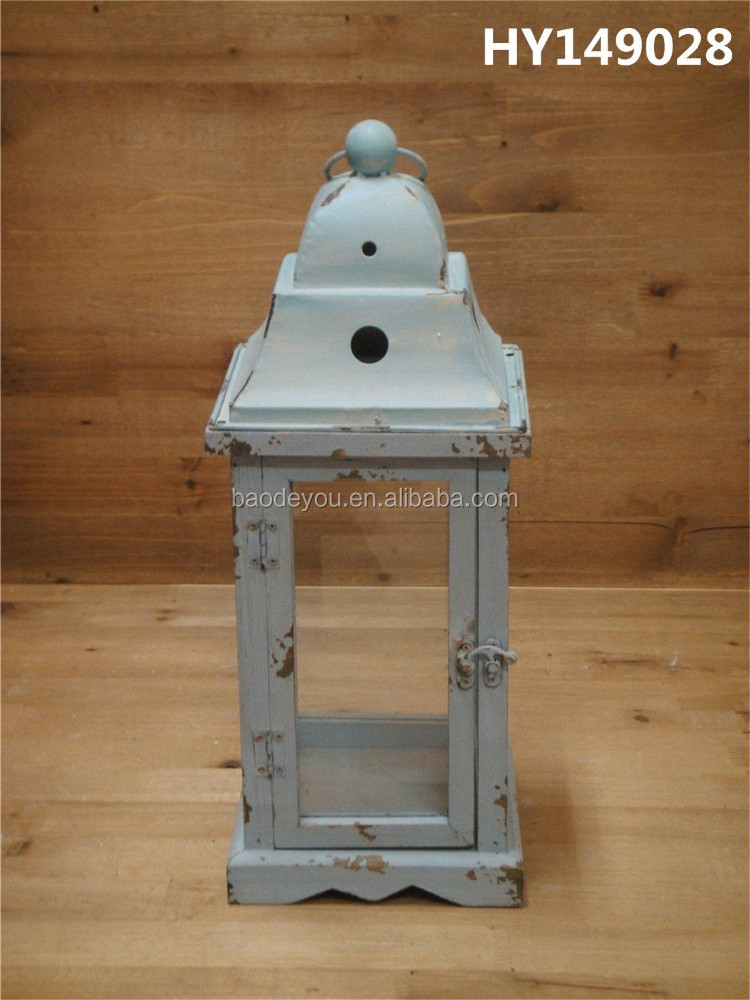 old style antique handmade wooden candle lantern