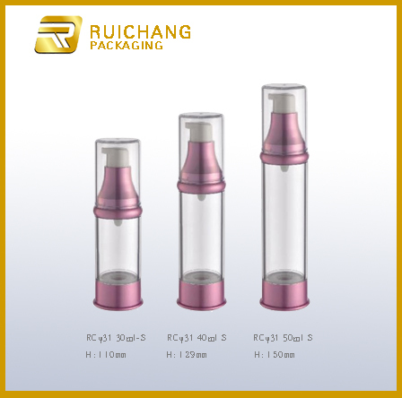Nice shape high quality cosmet packag plastic airless bottle for 15ml 30ml 50ml dia 29mm