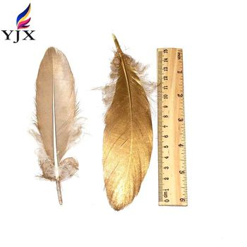 Factory Wholesale New Design DIY Gold Painted Goose Feather