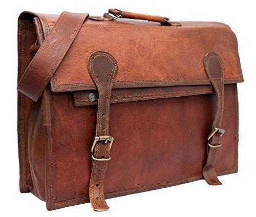 PhoenixCraft Men's Leather Briefcase Messenger Bag Laptop Macbook Satchel Bag 17X12X5 Inches Brown
