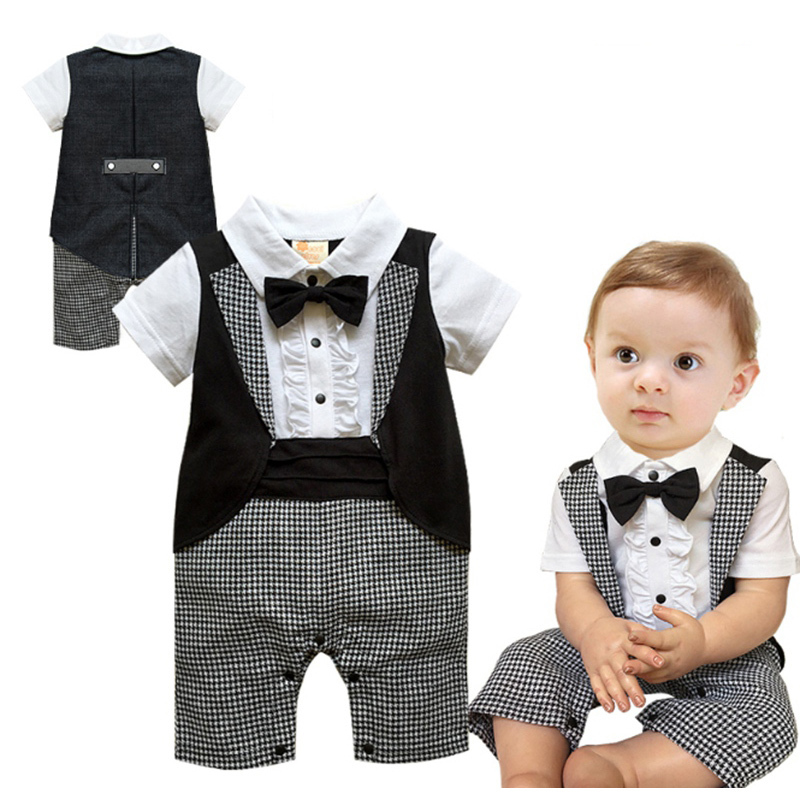 ce66b44f1a28b 2015 Brand New Summer Autumn Fashion Short Sleeved Male Infant Head  Dovetail Gentleman Romper Cotton Fabric PJHY