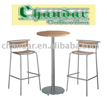Teak Wood Bar Table And Chair Stainless Steel Furniture