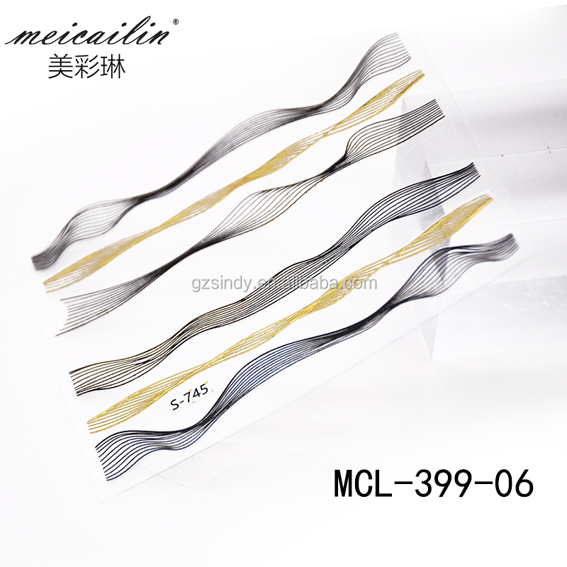 High quality nail art self-adhesive transfer sticker nail wave stripe tape decoration