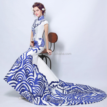 Blue new arrival evening dresses women long fishtail bodycon halter chinese traditional mermaid Qipao evening dress