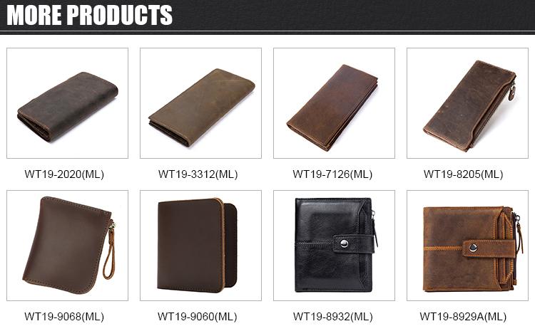 Bruin luxe slanke minimalistische lederen clutch card portemonnee