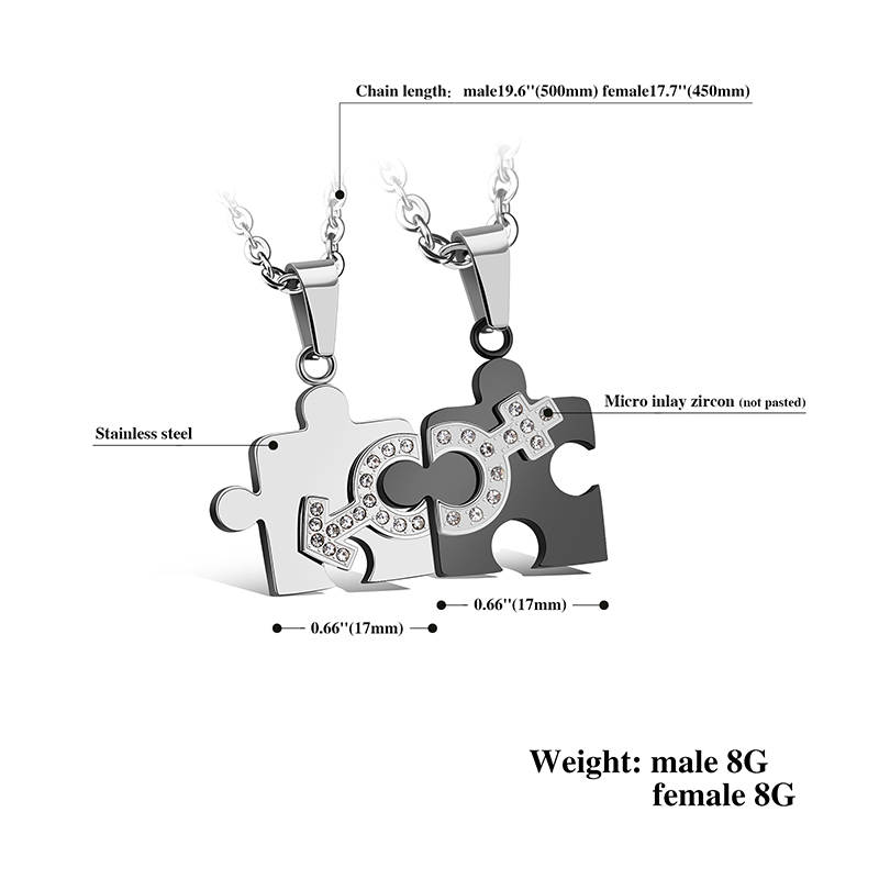 Stainless Steel Romantic Lovers' Heart Puzzle Pendant Necklaces with Crystal