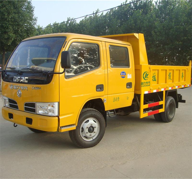cheapest left hand drive dongfeng crew cabin small garbage tipper truck 3ton