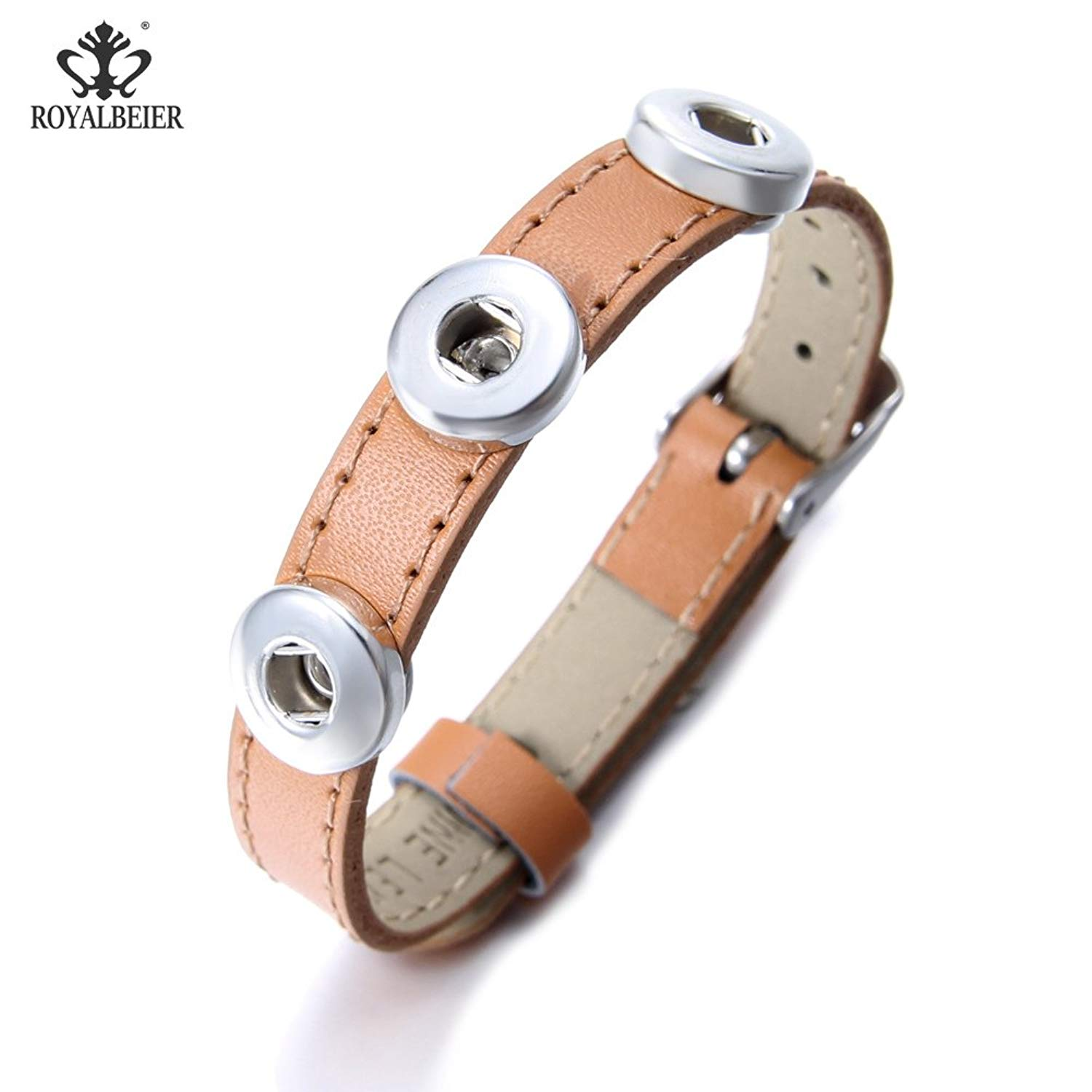 Genuine Leather Snap Charms Bracelet Multi Color Bangle Bracelet For 12/18mm Snap Button Snap Jewelry