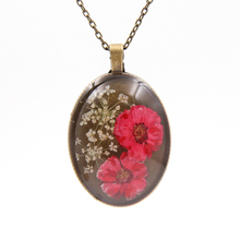 Personalized Natural Real Dried Flower Pendant Necklaces Zinc Alloy Necklace