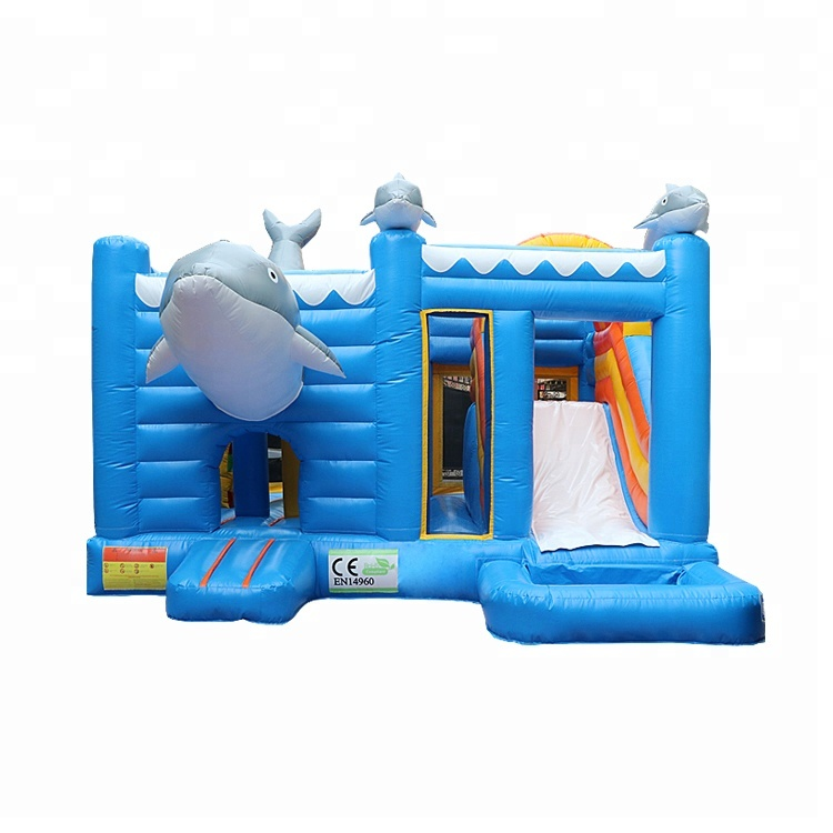 Commercial Grade Dolphin Bounce House Water Slide Combo Jeux Inflatable Bouncer Castle  inflatable bouncer
