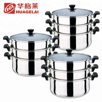 stainless steel double handle 3 layer steamer pots with lids