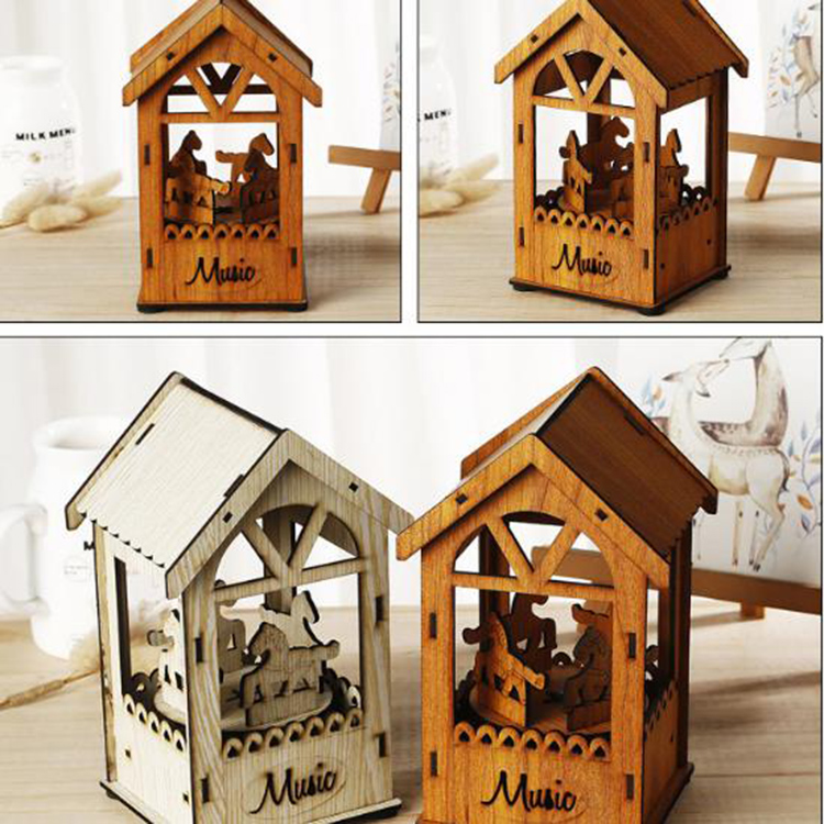 Creative Wooden Crafts Carousel Music Box Pull String Promotion Gift Music Box