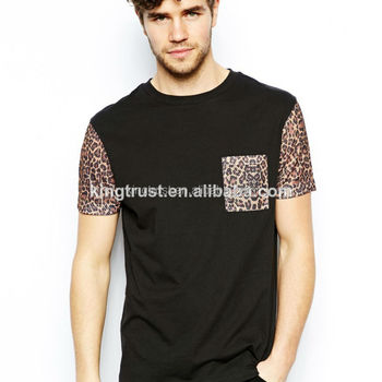 9259a856eed0 Soft jersey chest leopard pocket t shirt, wholesale leopard design t shirt,  mens leopard
