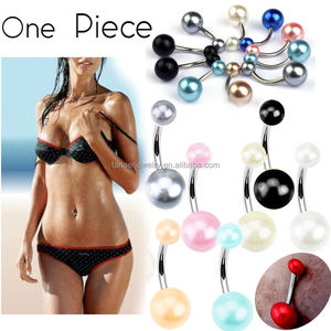 Surgical Steel 14Ga Pearl Body Piercing Jewelry Fake/Faux Pearl Belly Navel Button Ring