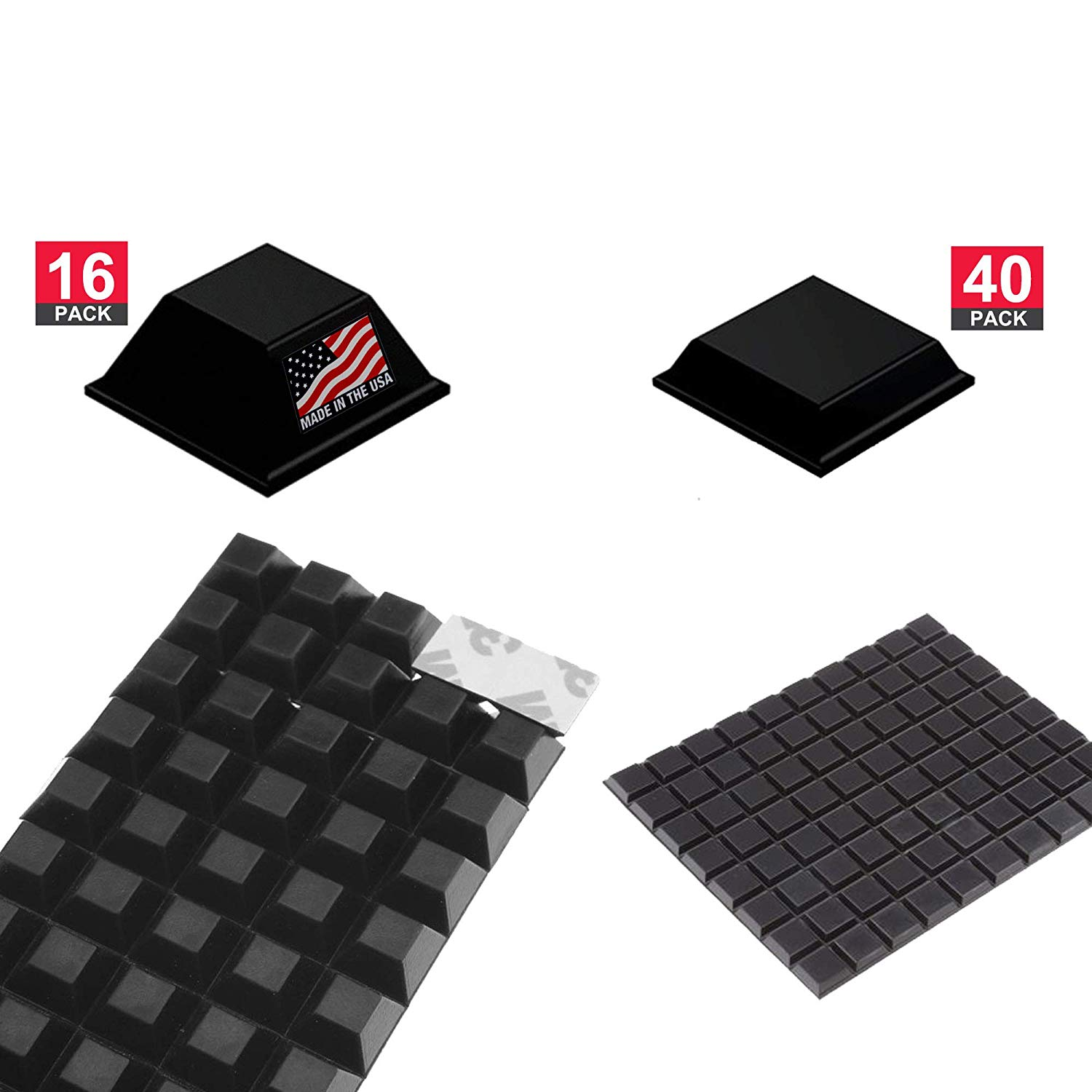Volarium Self Adhesive Rubber Bumper Pads: 56-PCs Square Combo Pack, Protectors and Rubber Feet for Electronics, Keyboard, Furniture and Laptop; Rubber Feet Adhesive, Sound Dampening, Non-Skid Feet