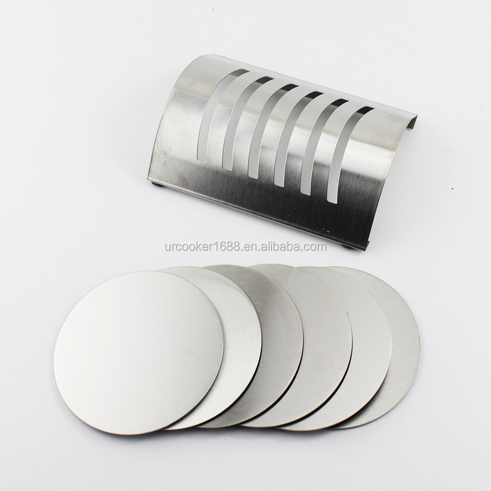Custom Round Shaped Stainless Steel Cup Coaster Sets With