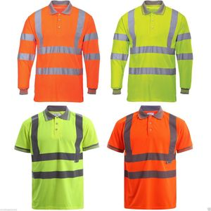 Hi Vis High Visibility Polo Shirt Tape Safety Security Work Top Reflective Polo Shirt