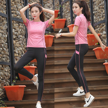 108409d79ae New Women Yoga Set Gym Fitness Clothes Tennis Shirt+Pants Running Tight  Jogging Workout Yoga