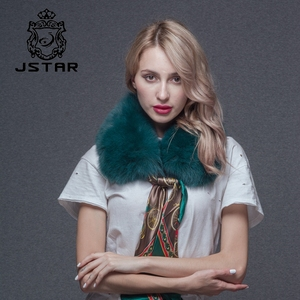 Custom Green Real Silver Fox Fur Collar Scarf With Real Silk