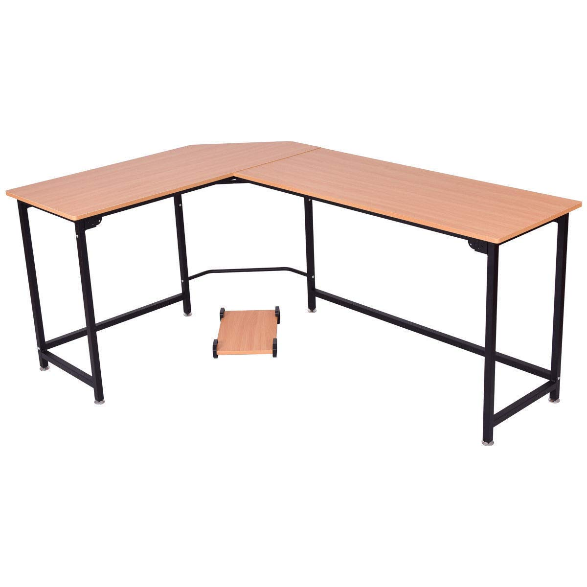AK Energy Large L-Shaped Corner Computer Desk Study Wood Top Table Workstation Home Office w/CPU Stand