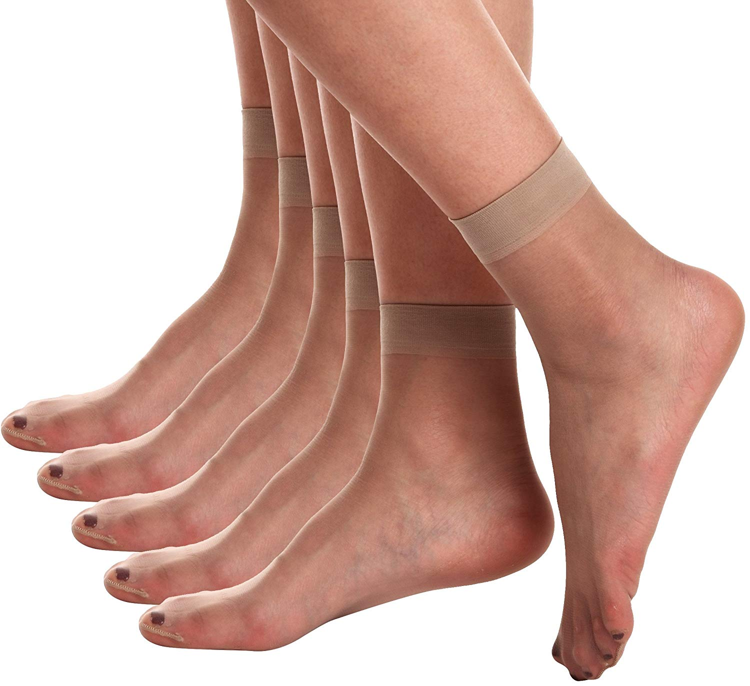 a9b707d3c Get Quotations · Florboom Sexy Ankle Pantyhose Squre Stripe Patterned Dress  Sock 5 Pack